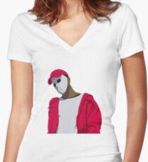 Ski Mask The Slump God Minimal Design Women's Fitted V-Neck T-Shirt