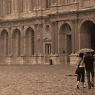 Couple in Rain, Louvre Courtyard by APhillips