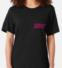 Camiseta ajustada STI - Subaru Technica International Pink Logotipo
