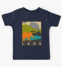 Visit LAOS Travel Poster Kids Tee