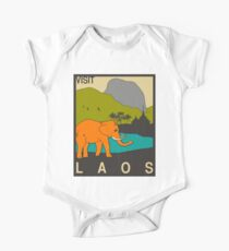 Visit LAOS Travel Poster One Piece - Short Sleeve