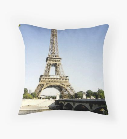 eiffel tower in paint Throw Pillow