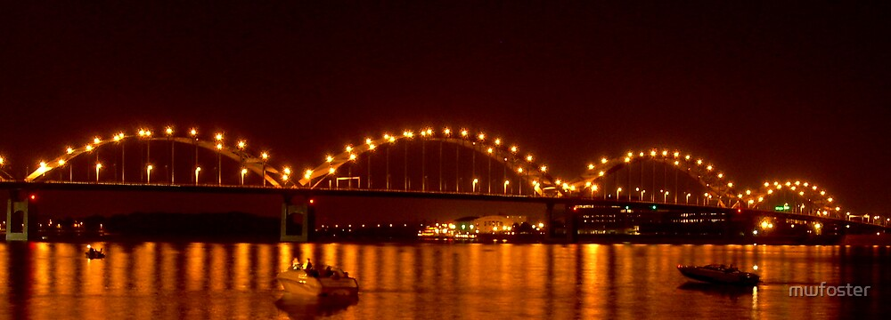 bridge at night in panoramic by mwfoster