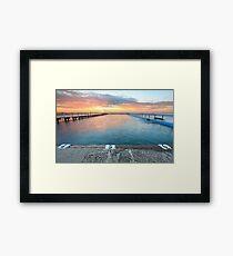 Splendid sunrise over the ocean and rock pool Framed Print