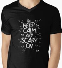 Keep Calm & Scary On Men's V-Neck T-Shirt