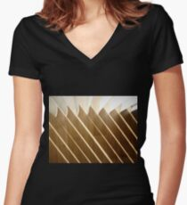 *Light and shade of Vertical blinds* Women's Fitted V-Neck T-Shirt