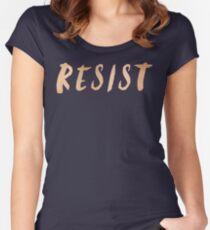 RESIST 7.0 - Rose Gold on Navy #resistance Women's Fitted Scoop T-Shirt