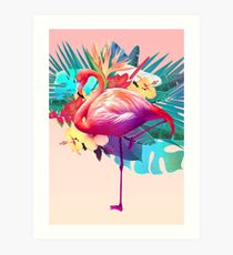 Tropical Flamingo Art Print