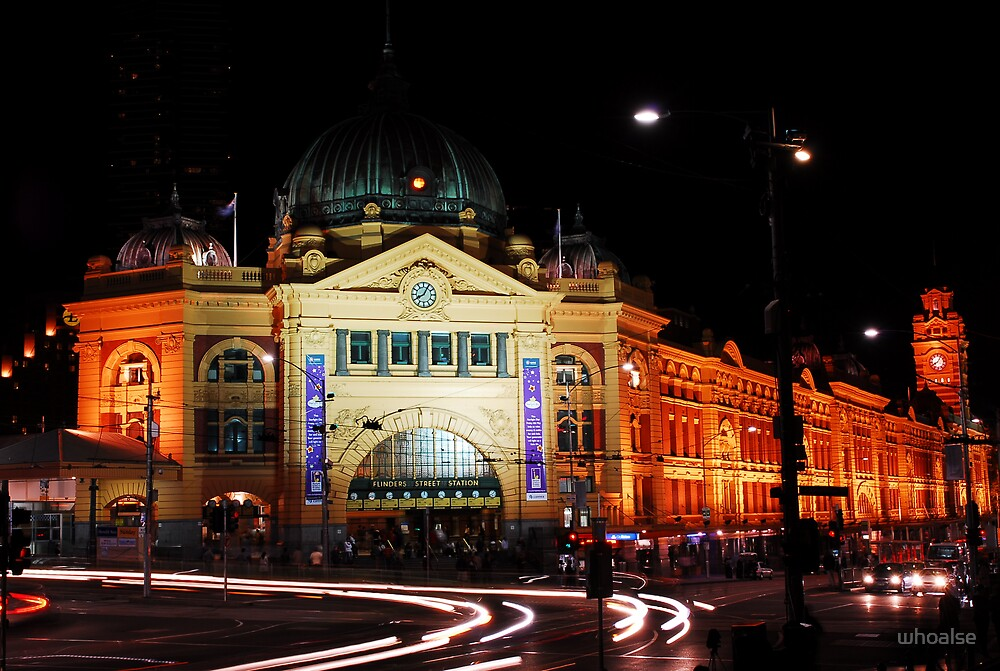 Night Life At Flinders Station by whoalse