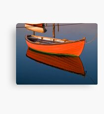 Small dinghy dory floating in the water Canvas Print
