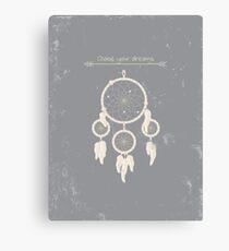 Romantic dreamcatcher with grunge texture Canvas Print