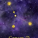 Cancer Zodiac constellation, birthday June to July, astronomy, astrology, horoscope, watercolour space painting with gold effect stars, font and symbol. by Sandra O'Connor