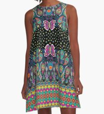 Midnight Butterflies - rainbow on black A-Line Dress