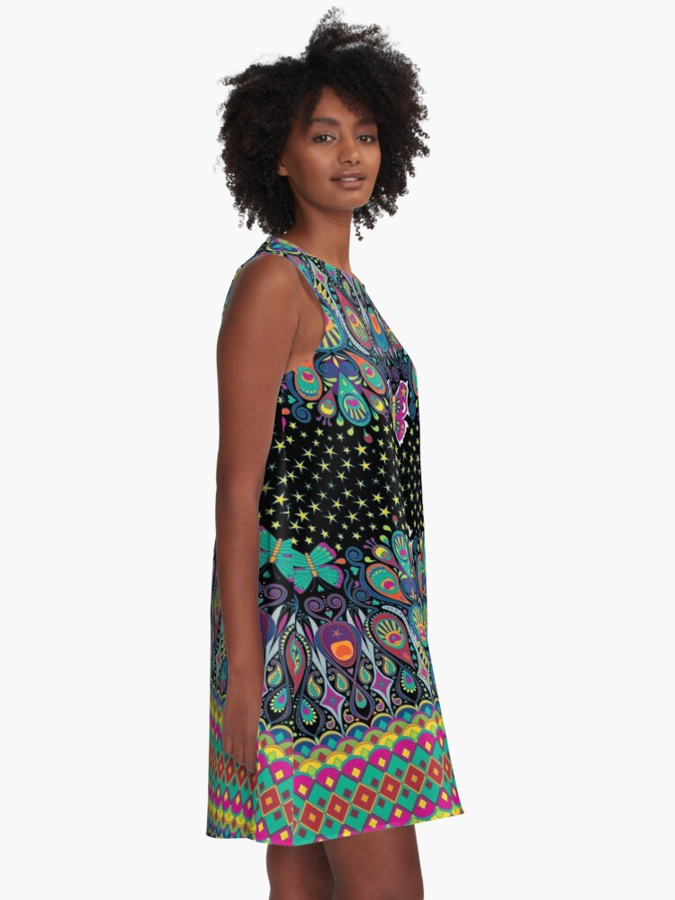 Alternate view of Midnight Butterflies - rainbow on black - Bohemian pattern by Cecca Designs A-Line Dress