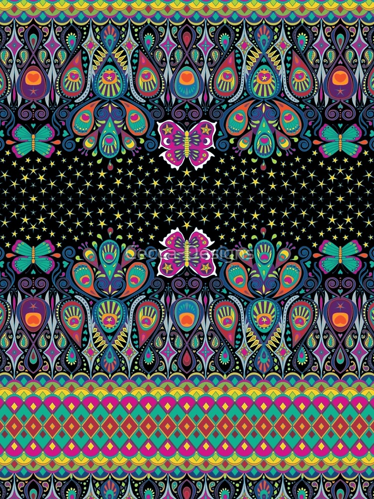 Midnight Butterflies - rainbow on black - Bohemian pattern by Cecca Designs by Cecca-Designs
