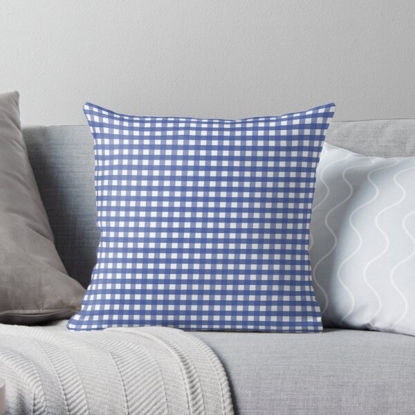 Cornflower Blue Gingham Check Pattern Throw Pillow