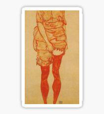 Egon Schiele - Femme debout en rouge 1913 Sticker