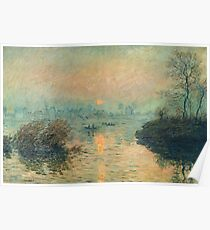 Claude Monet - Sunset On The Seine At Lavacourt Winter Effect 1880 Poster