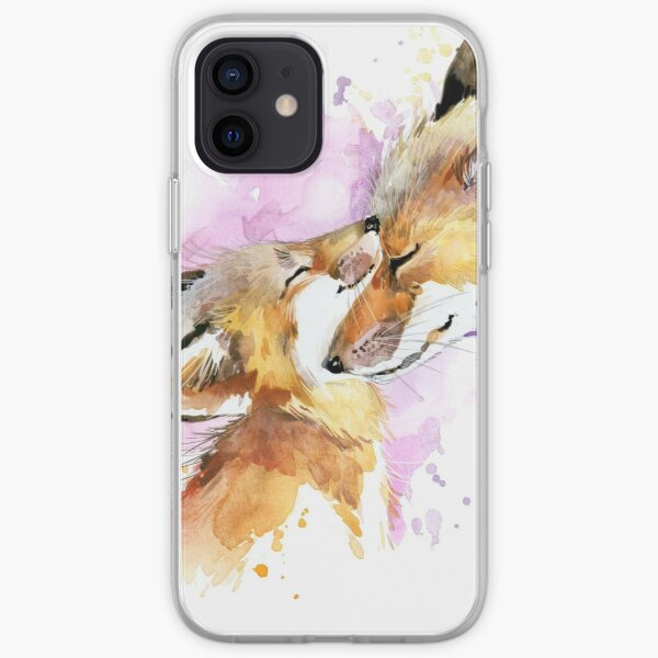 Beautiful Fox Mother and Cub Watercolour design. iPhone Soft Case