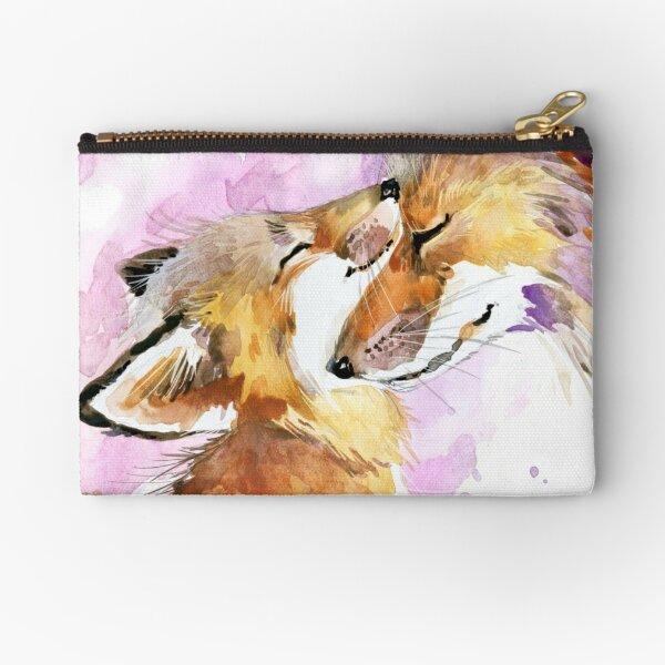 Beautiful Fox Mother and Cub Watercolour design. Zipper Pouch