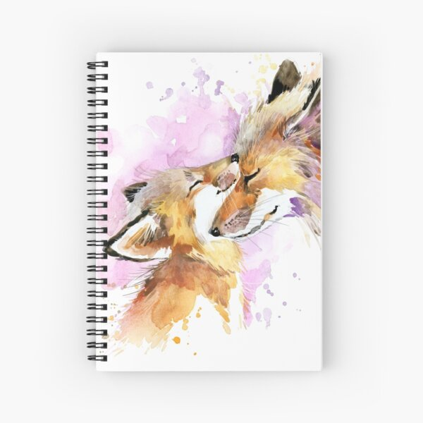 Beautiful Fox Mother and Cub Watercolour design. Spiral Notebook