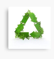 recycling symbol and leaves Metal Print