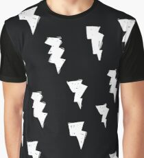 Lightening Bolt Black and White - Weather Storm Graphic T-Shirt