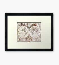 Old map of the world Framed Print