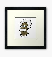 cartoon genius scientist face Framed Print