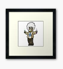 cartoon genius scientist Framed Print