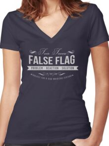 Twin Towers Fals Flag Women's Fitted V-Neck T-Shirt