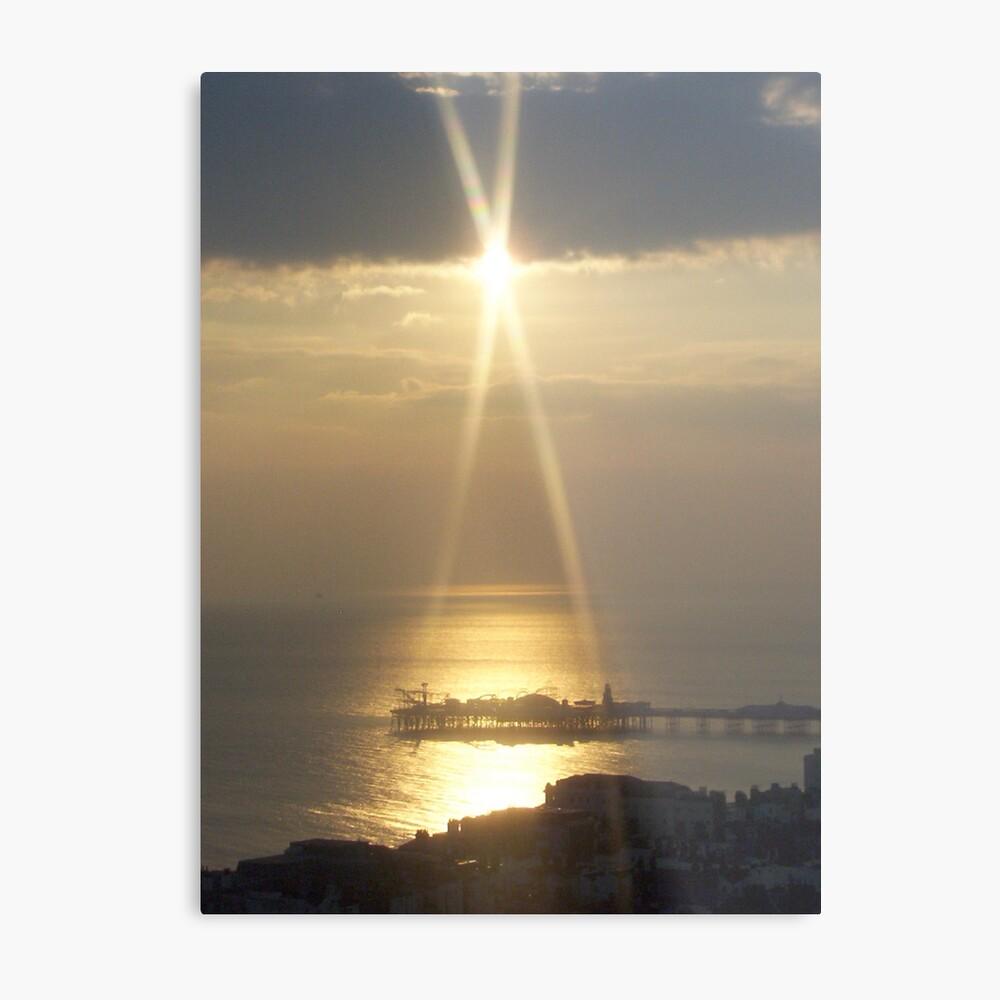 Sunset Over Brighton Pier Metal Print