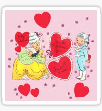 """""""Old Fashion Love"""" - Vintage, Inspired, Valentine's, Day, Card, Love, Romance, Romantic, Couple, Cute, Red, Hearts, Pink, Flowers, Victorian, Sweeites   Sticker"""