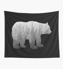 Misty Forest Bear - Black and White Wall Tapestry