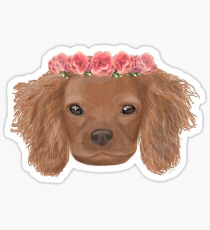 Puppy floral crown Sticker