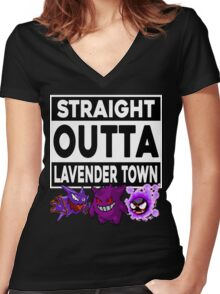 Straight Outta Lavender Town Women's Fitted V-Neck T-Shirt