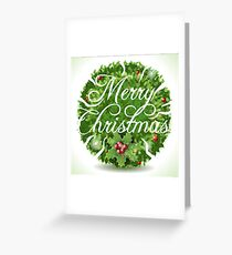 Holly Leaves Circle and Merry Christmas Calligraphic Text Greeting Card