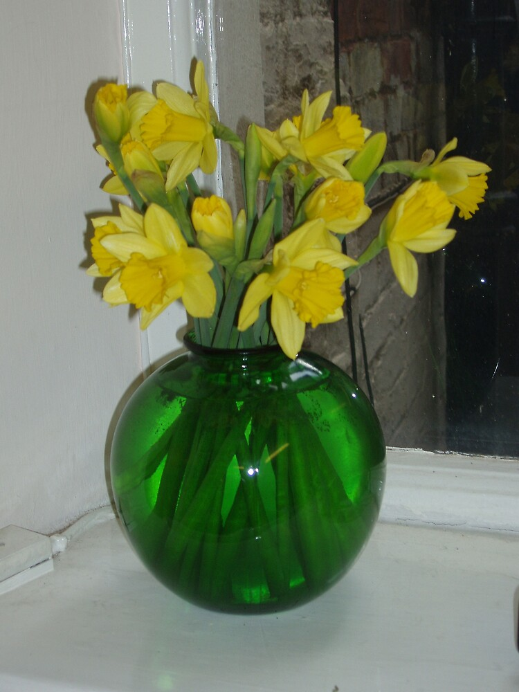 Daffodils in Green Vase by Frances Knight