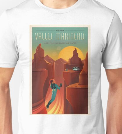 Art Deco Travel Poster - Valles Marineris (SpaceX) Unisex T-Shirt