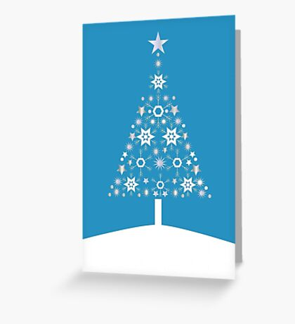 Christmas Tree Made Of Snowflakes On Cerulean Background Greeting Card