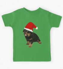 Cute Merry Christmas Puppy In Santa Hat Kids Tee