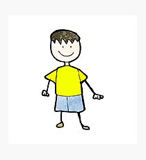 child's drawing of a happy boy Photographic Print