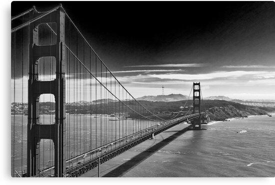 Quot Golden Gate Bridge Dark Sky Black And White Quot Canvas
