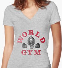 Gorilla World Gym - distressed effect Women's Fitted V-Neck T-Shirt