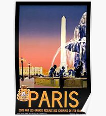 Vintage Paris France Travel Poster
