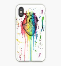 Watercolour and Pen Rainbow Anatomical Heart iPhone Case