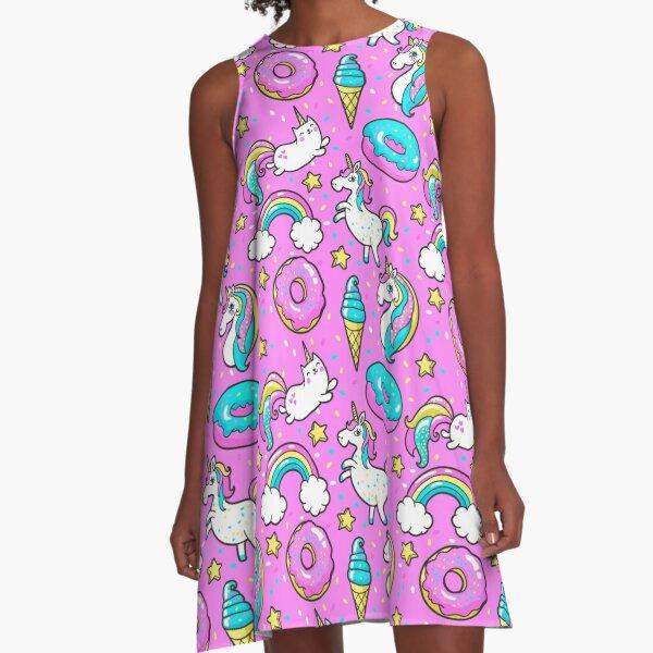 Rosa Einhorn-Donut-Regenbogen-Eiscreme-Sterne A-Linien Kleid