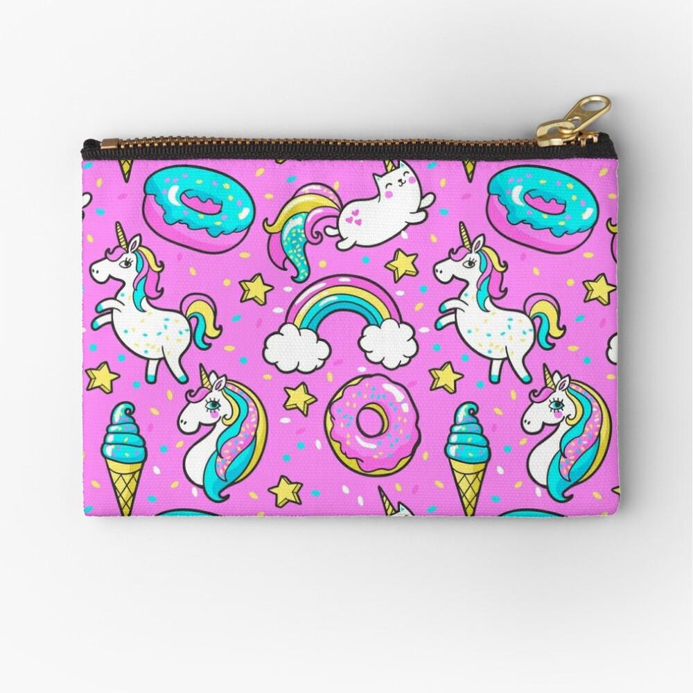 Pink /& Cream Unicorn zipper pouch