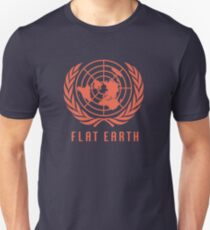 Flat Earth Map (Deep Orange UN Map Azimuthal Logo) Unisex T-Shirt