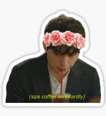 Grim Reaper and His Coffee (with flower crown) Sticker